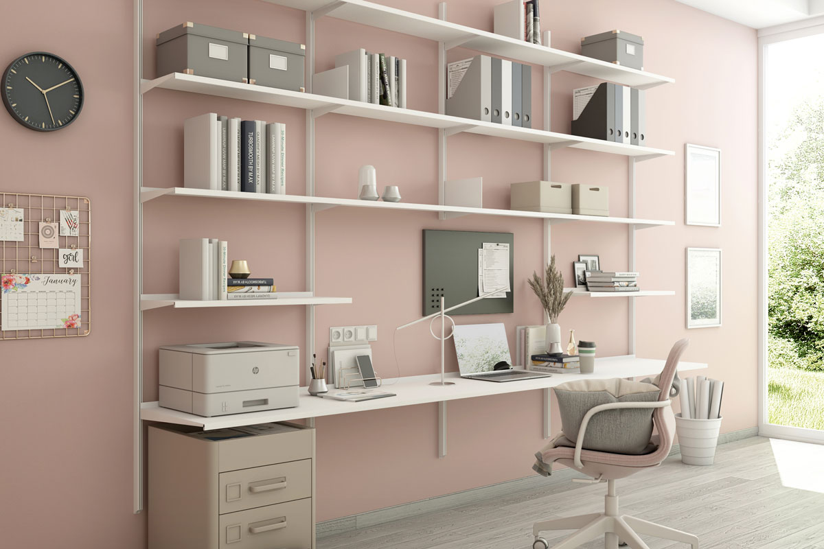 Pallucco Continua bookcase and desk in home office