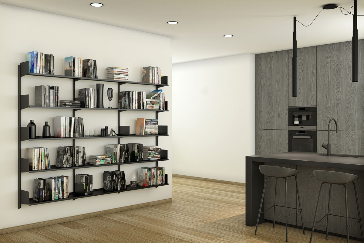Pallucco Continua bookcase in a kitchen
