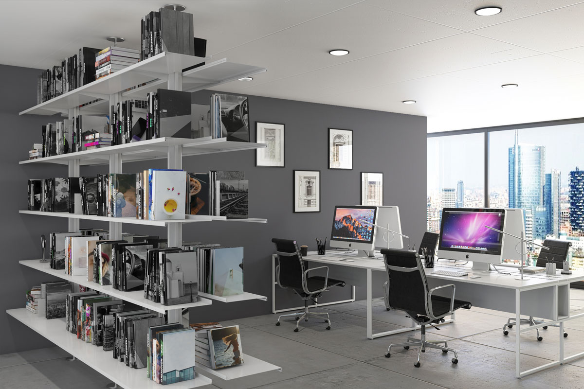 Pallucco Continua bookcase in an office