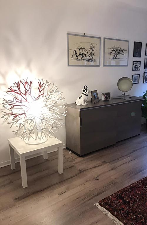Coral lamp in a office